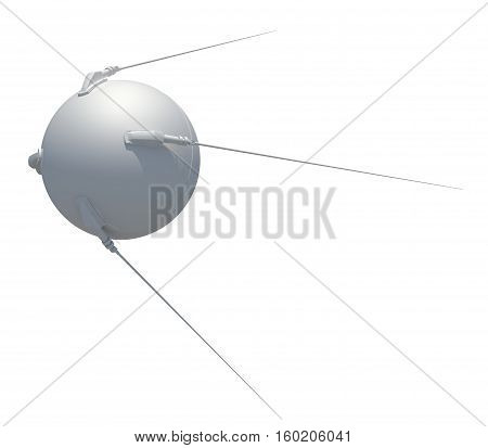 3d rendering satellite isolated on white background
