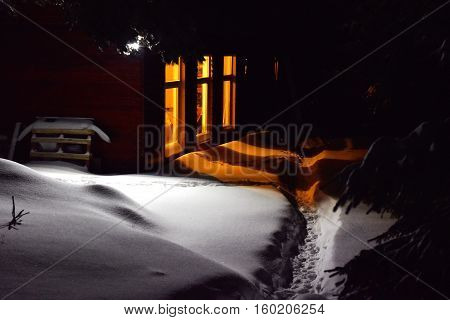 Mountain Cabin In Winter Evening Scene