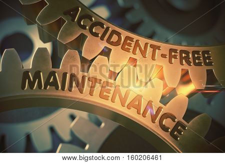 Golden Gears with Accident-Free Maintenance Concept. Accident-Free Maintenance - Concept. 3D Rendering.