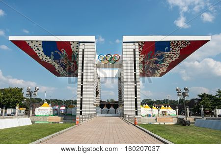 Seoul, South Korea - September 29, 2016: World Peace Gate. The 24Th Seoul Olympic Representative Sym