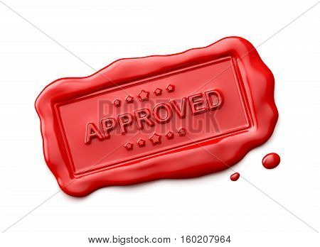 Wax seal with Approved word isolated on white background - 3D Rendering