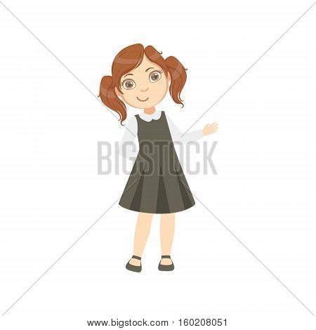 Girl In Black Dress Happy Schoolkid In School Uniform Standing And Smiling Cartoon Character. Part Of Primary School Students In Dress Code Clothing Set Of Vector Illustrations.