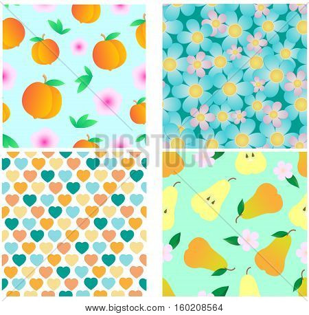 Set of four different seamlesses. Vector pattern.