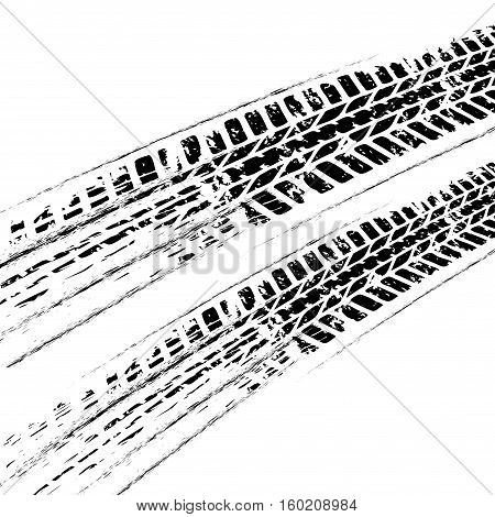 Black grunge tire track isolated on white background