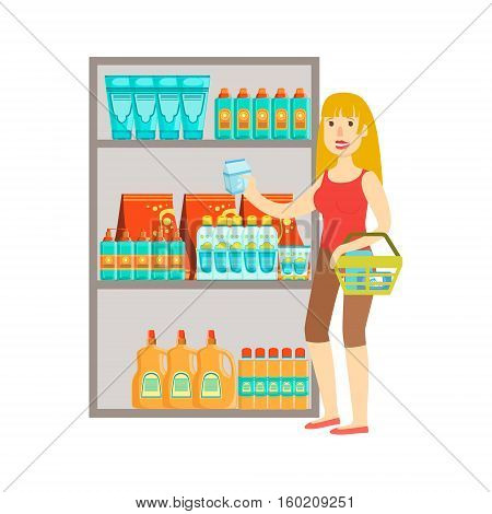 Girl Shopping For Drinks, Shopping Mall And Department Store Section Illustration. Person Standing Next To Supermarket Showcase With Goods On The Shelf Smiling Cartoon Character.