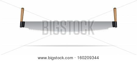 Realistic two-man saw isolated on white background. Vector illustration.