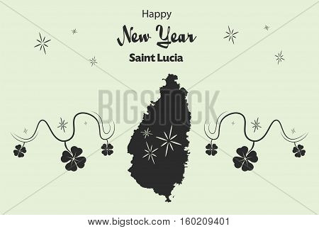 Happy New Year Illustration Theme With Map Of Saint Lucia
