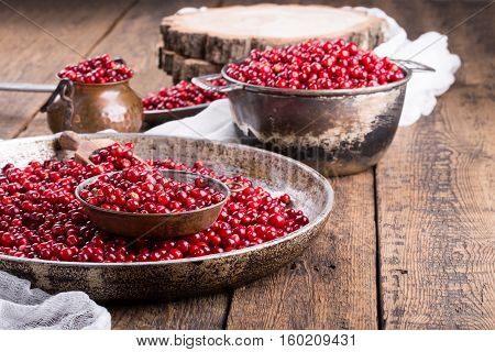 Wild cowberry (foxberry lingonberry) on wooden background