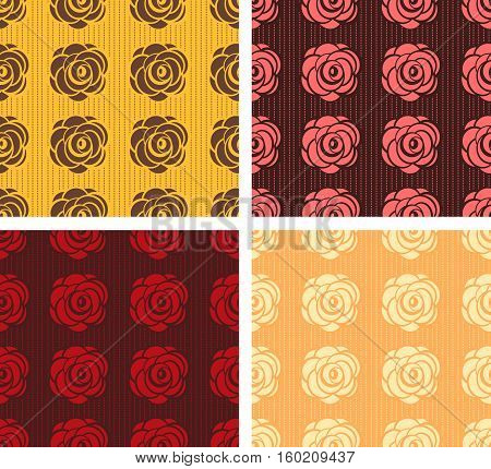 Four seamless from flowers in different colors.