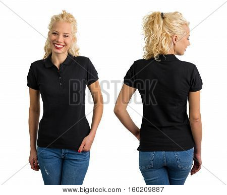 Woman in black V-neck polo T shirt