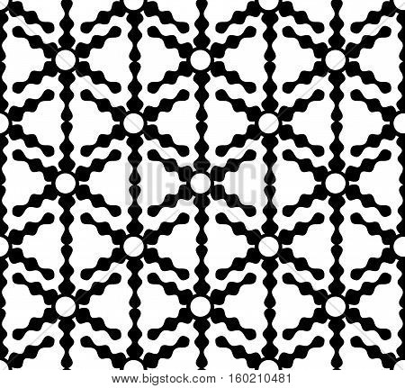 Vector seamless from abstract black shapes on white.