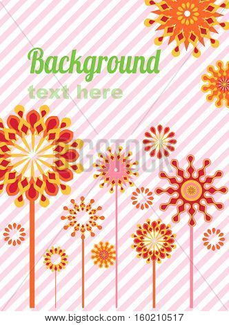 Floral card with place for text on striped background.