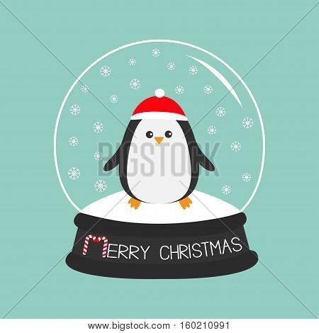 Penguin in red santa hat. Cute cartoon character. Arctic animal collection. Baby bird. rystal ball with snow. Merry Christmas card Candy cane text. Flat design Blue background. Vector illustration