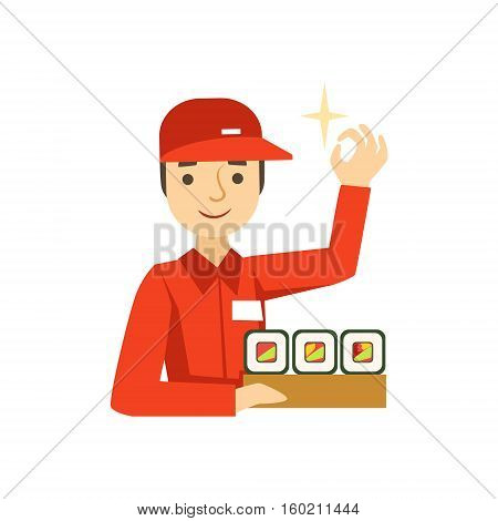 Delivery Service Worker In Red Uniform Holding A Portion Of Sushi Rolls From Japanese Restaurant. Cartoon Vector Illustration From The Collection Of Asian Food Takeout Company Process Of Office And Home Food Delivery.