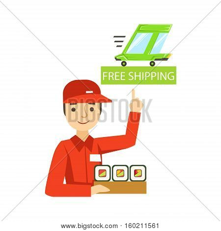Delivery Service Worker In Red Uniform Holding A Portion Of Sushi Rolls From Japanese Restaurant Ready For Shipment. Cartoon Vector Illustration From The Collection Of Asian Food Takeout Company Process Of Office And Home Food Delivery.
