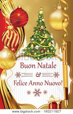 Buon Natale e felice Anno Nuovo! - New Year wishes in Italian language (Merry Christmas and Happy New Year!) - Printable Season's Greetings Card. Contains Christmas decorations: tree, baubles.
