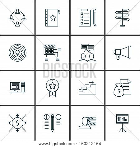 Set Of 16 Project Management Icons. Can Be Used For Web, Mobile, UI And Infographic Design. Includes Elements Such As Personal, Warranty, Money And More.