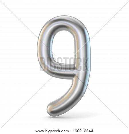 Metal Silver Font. Number Nine 9 3D