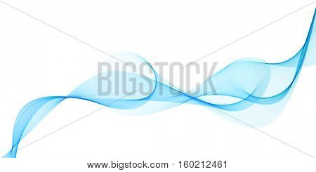 Abstract blue smoke horizontal flow isolated on white background. Vector illustration.