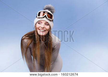 Woman In Thermal Underwear Ski Googles