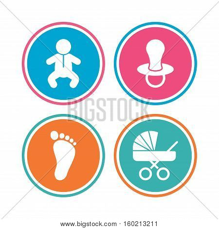 Baby infants icons. Toddler boy with diapers symbol. Buggy and dummy signs. Child pacifier and pram stroller. Child footprint step sign. Colored circle buttons. Vector