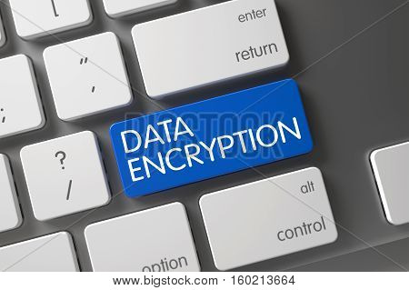 Concept of Data Encryption, with Data Encryption on Blue Enter Key on Aluminum Keyboard. 3D Illustration.