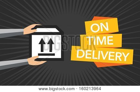 Package delivery symbol flat dark vector background