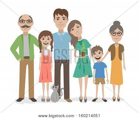 Big happy family flat vector characters isolated