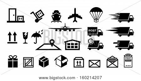 delivery service flat icons vector set isolated