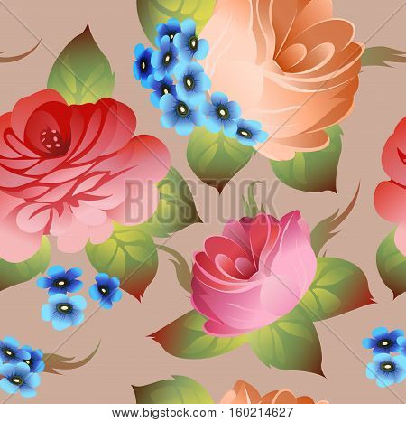 Vintage russian floral pattern zhostovo style vector