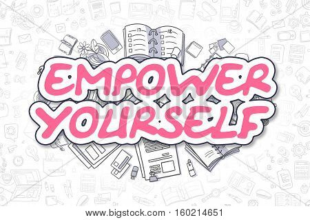 Business Illustration of Empower Yourself. Doodle Magenta Word Hand Drawn Doodle Design Elements. Empower Yourself Concept.
