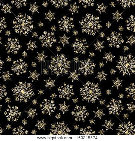 Christmas seamless pattern with golden snowflakes on black background