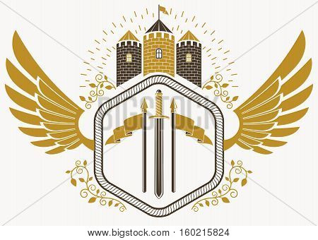 Vector Vintage Heraldic Coat Of Arms Created In Award Design And Decorated Using Eagle Wings And Med
