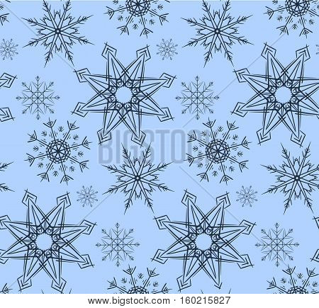 Seamless texture in blue colors with variety of snowflakes. Vector background for wrapping paper wallpaper fabric and your design
