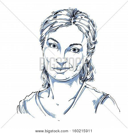 Hand-drawn Vector Illustration Of Beautiful Skeptic Woman, I Do Not Believe You. Monochrome Image, E