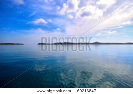 View on the waters of Gulf of Thailand. Blue color tones, blur