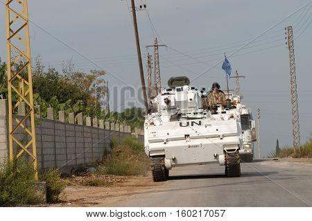 TYR, LEBANON-OCTOBER 18:Unidentified UN vehicle on patrol on October 18, 2006 in Tyr, Lebanon