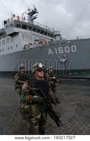 BEIRUT, LEBANON-OCTOBER 20:Turkish soldier on patrol on October 20, 2006 in Beirut, Lebanon