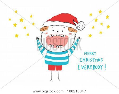 Merry Christmas Everybody card happy boy hand drawn vector illustration