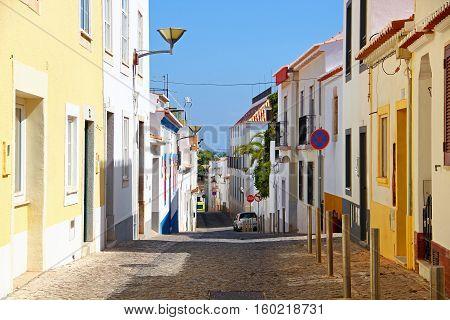 Colorful street in Lagos, Algarve province, Portugal