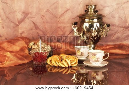 Tea still life / Still life with russian traditional samovar