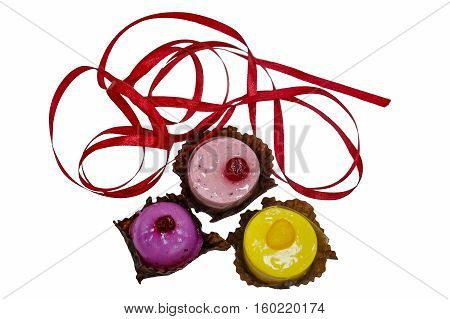 bright and colorful cakes isolated on white background