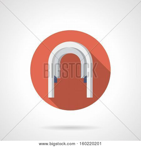 White stoned arched passageway. Decorative elements for architecture objects, garden and park landscape. Red round flat color design vector icon.
