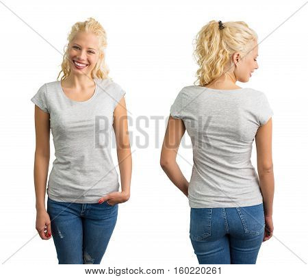 Woman in grey round neck T-shirt front and back view
