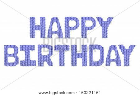 Happy birthday word on a blurry texture knitted pattern of woolen thread closeup. English alphabet. Typography design. Color dark blue