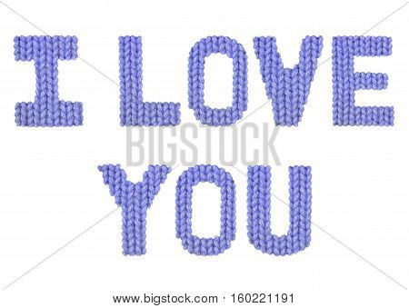 I love you word on a blurry texture knitted pattern of woolen thread closeup. English alphabet. Typography design. Color dark blue