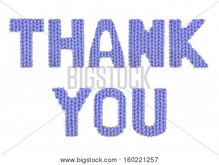 Thank you word on a blurry texture knitted pattern of woolen thread closeup. English alphabet. Typography design. Color dark blue