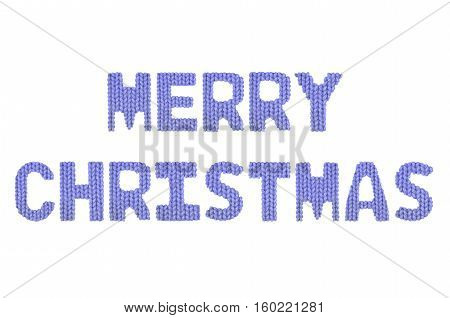 Merry christmas word on a blurry texture knitted pattern of woolen thread closeup. English alphabet. Typography design. Color dark blue