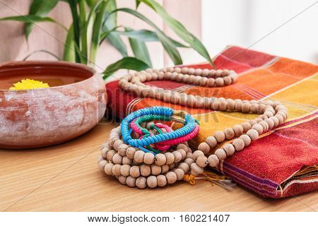 Bracelet and Rosary beads necklace on Silk cloth Thailand