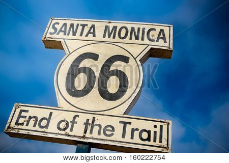 HIstoric Route 66 sign on Santa Monica Pier, California, USA